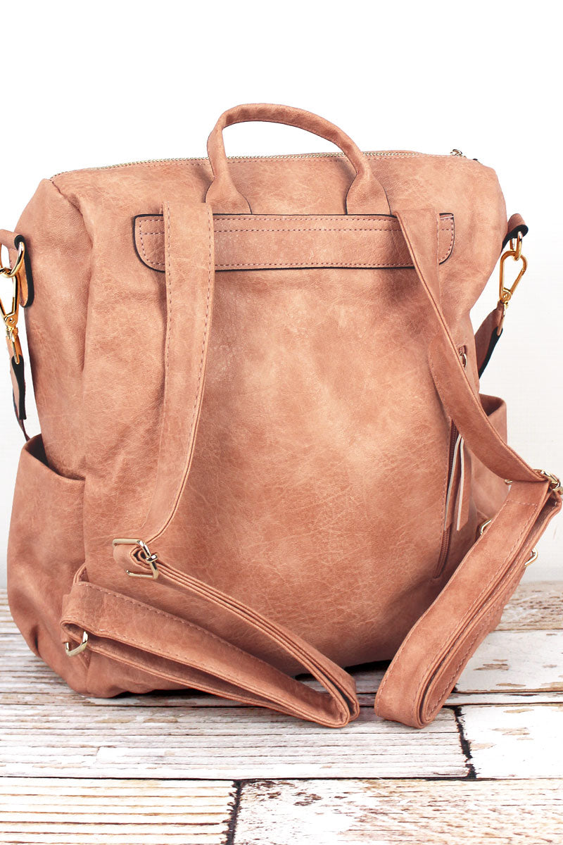 NGIL Peach Faux Leather Backpack Tote