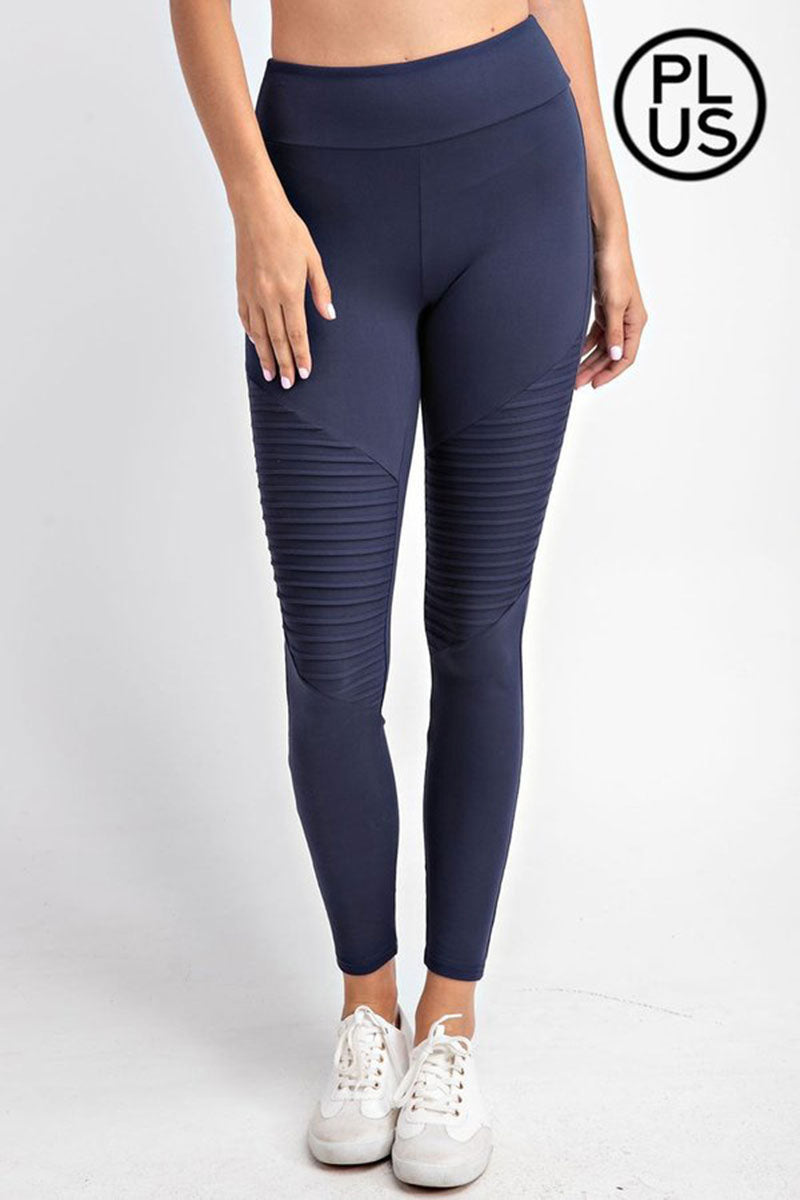 Plus Size Navy Butter Moto Elastic Waist Leggings