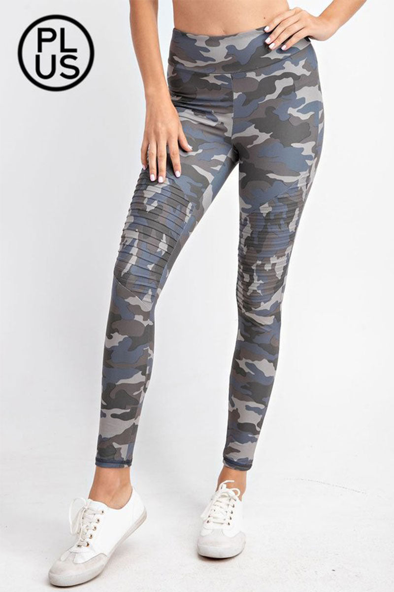 Plus Size Gray and Blue Camo Butter Moto Elastic Waist Leggings