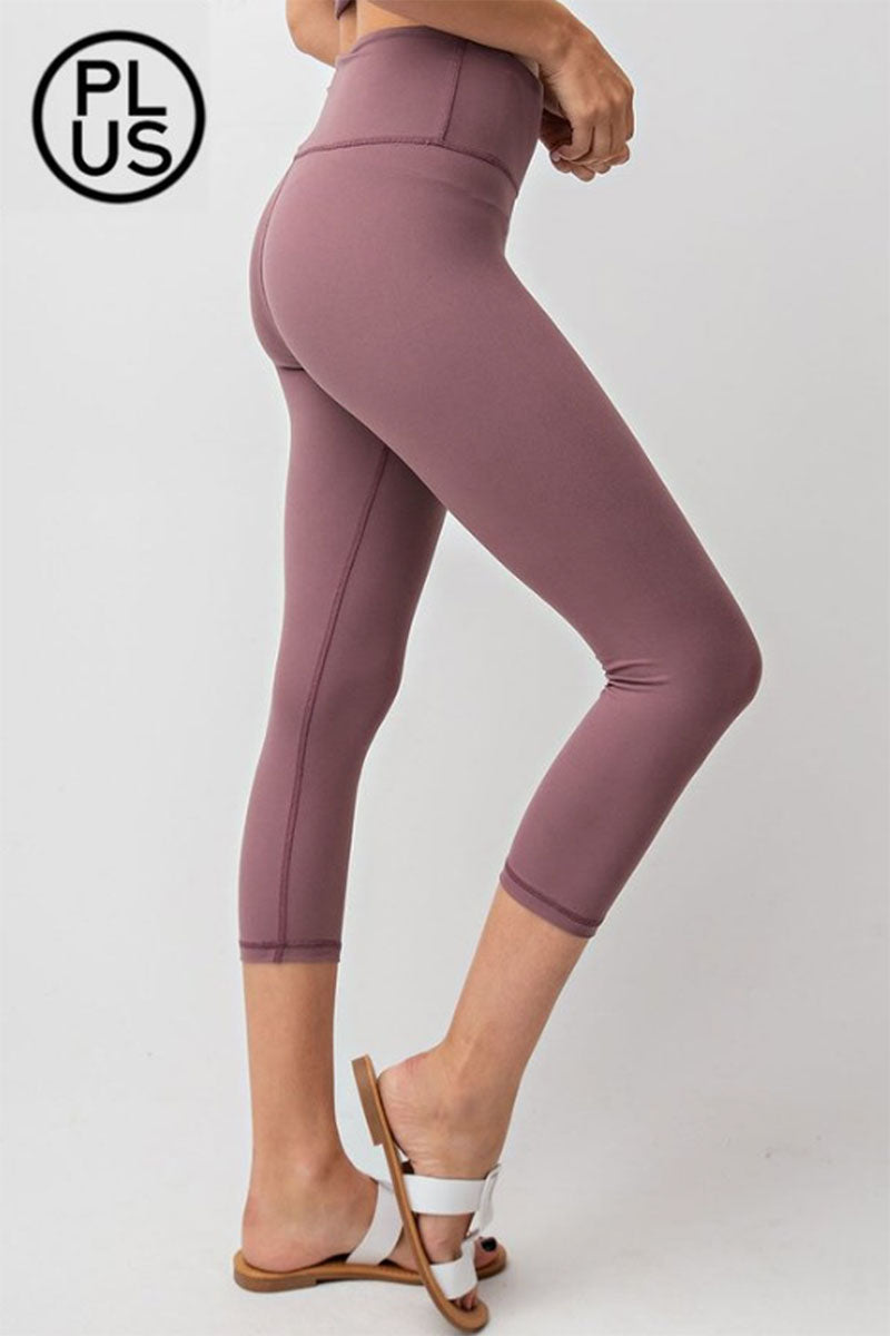 Plus Size Dark Mauve Capri Butter Leggings