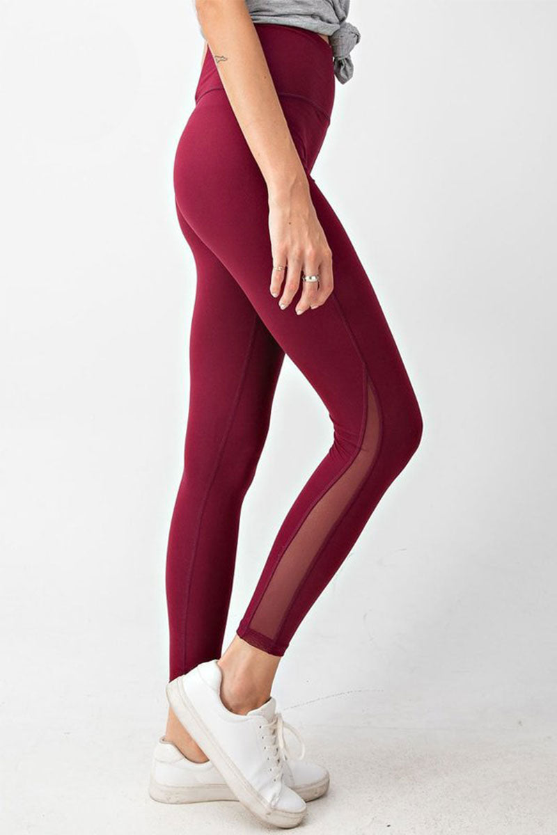 Burgundy Butter Mesh Side Elastic Waist Leggings