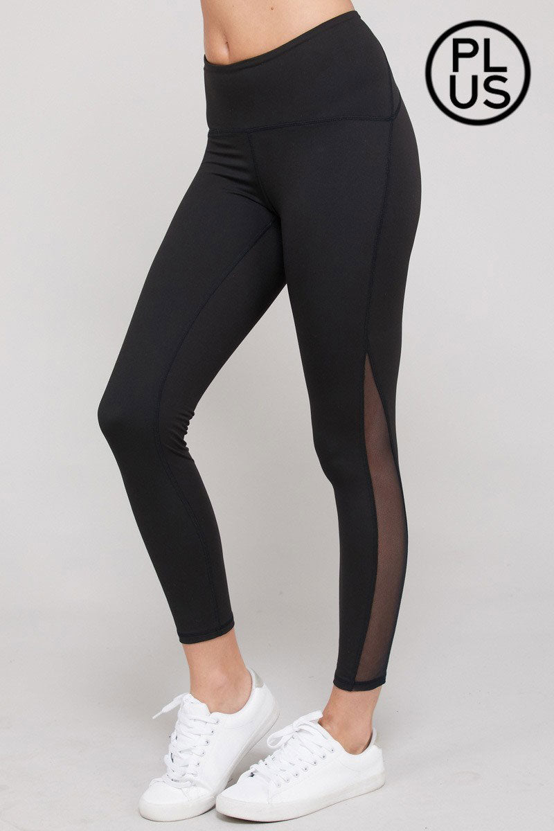 Plus Size Black Butter Mesh Side Elastic Waist Leggings