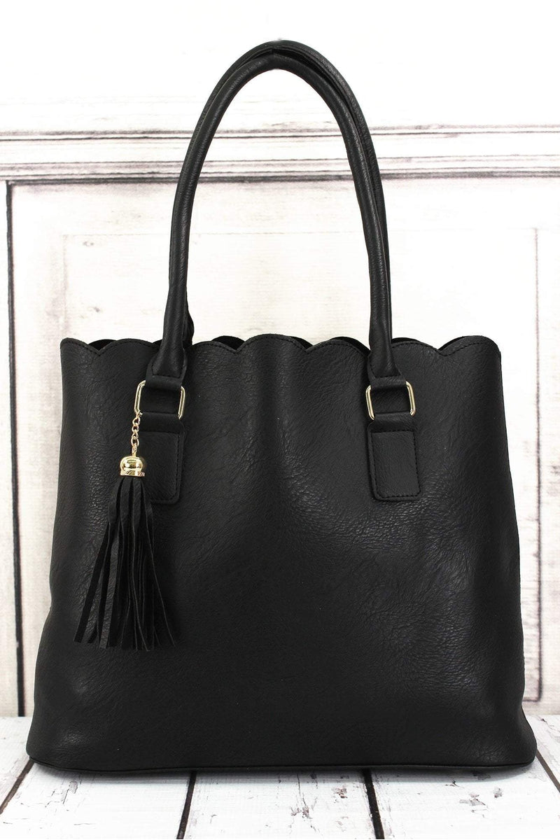 NGIL Black Faux Leather Scalloped Tote