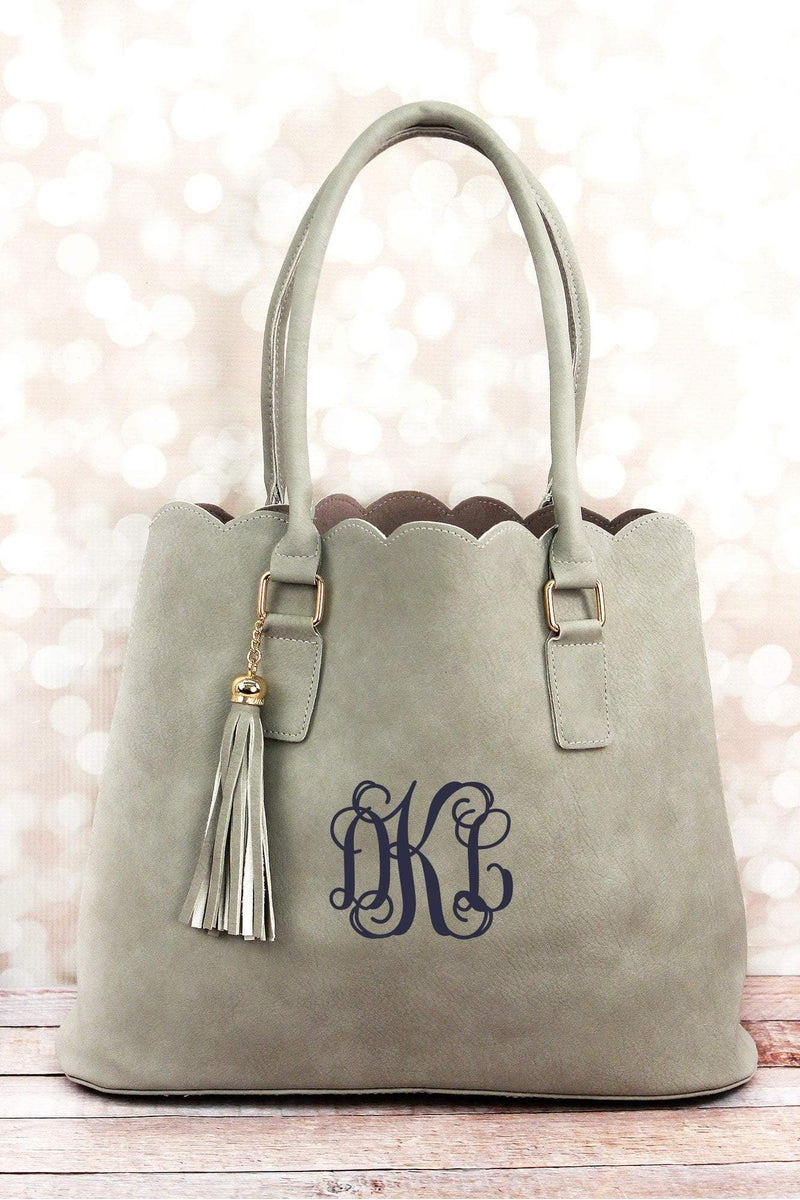 NGIL Gray Faux Leather Scalloped Tote