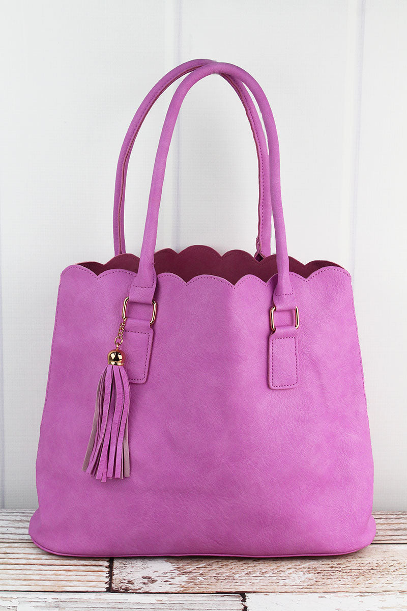 NGIL Pink Faux Leather Scalloped Tote