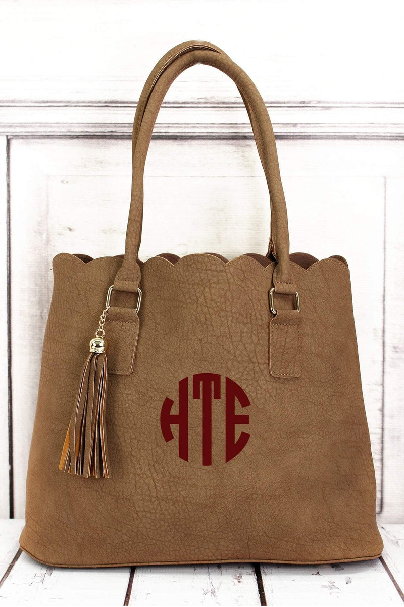 NGIL Taupe Faux Leather Scalloped Tote