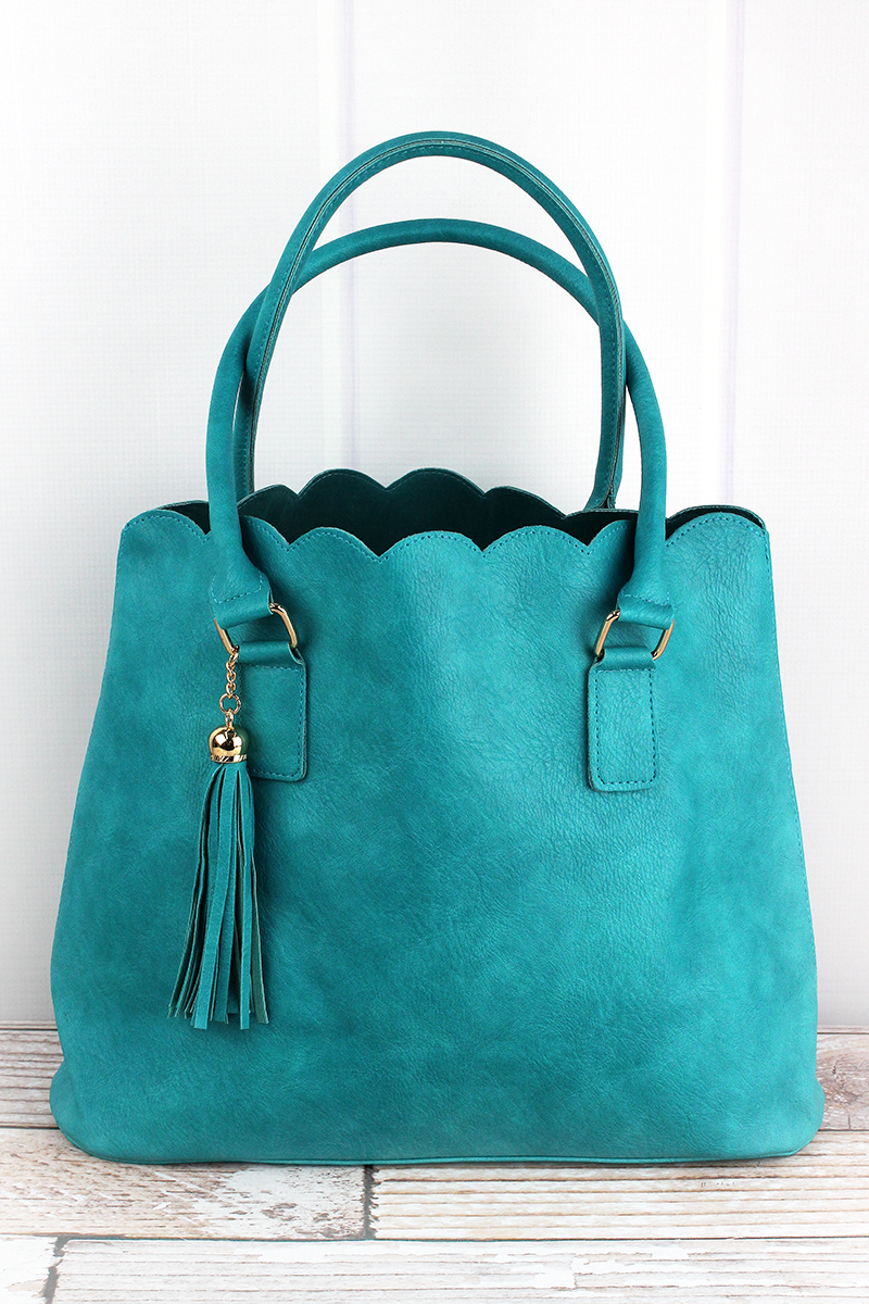NGIL Turquoise Faux Leather Scalloped Tote