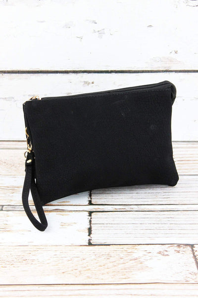 NGIL Black Faux Leather Crossbody Clutch