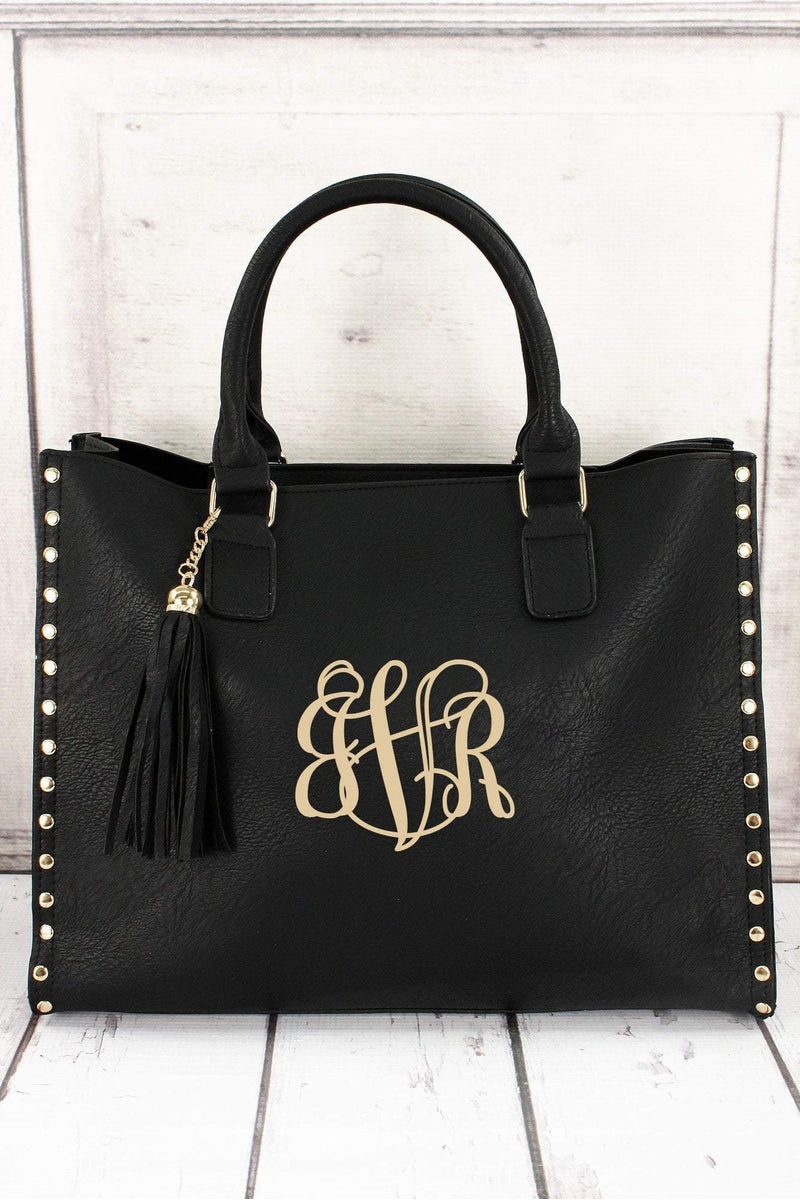 Black Faux Leather Studded 2-in-1 Tassel Tote #P877-BLACK