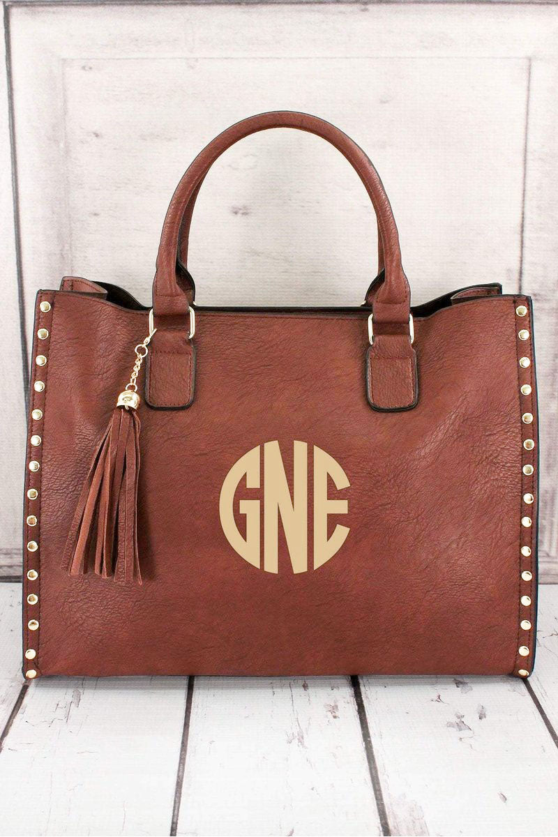 NGIL Brown Faux Leather Studded 2-in-1 Tassel Tote