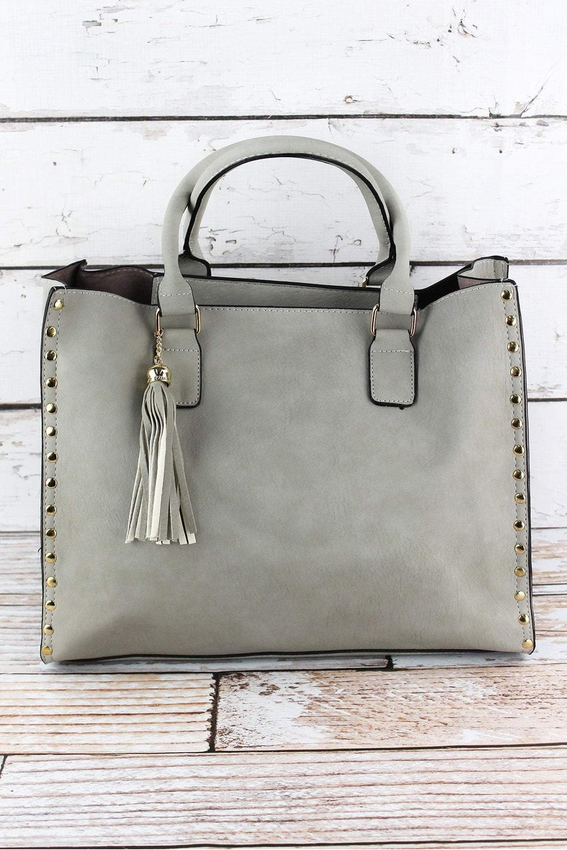NGIL Gray Faux Leather Studded 2-in-1 Tassel Tote