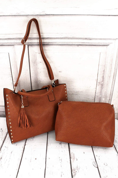 NGIL Light Brown Faux Leather Studded 2-in-1 Tassel Tote