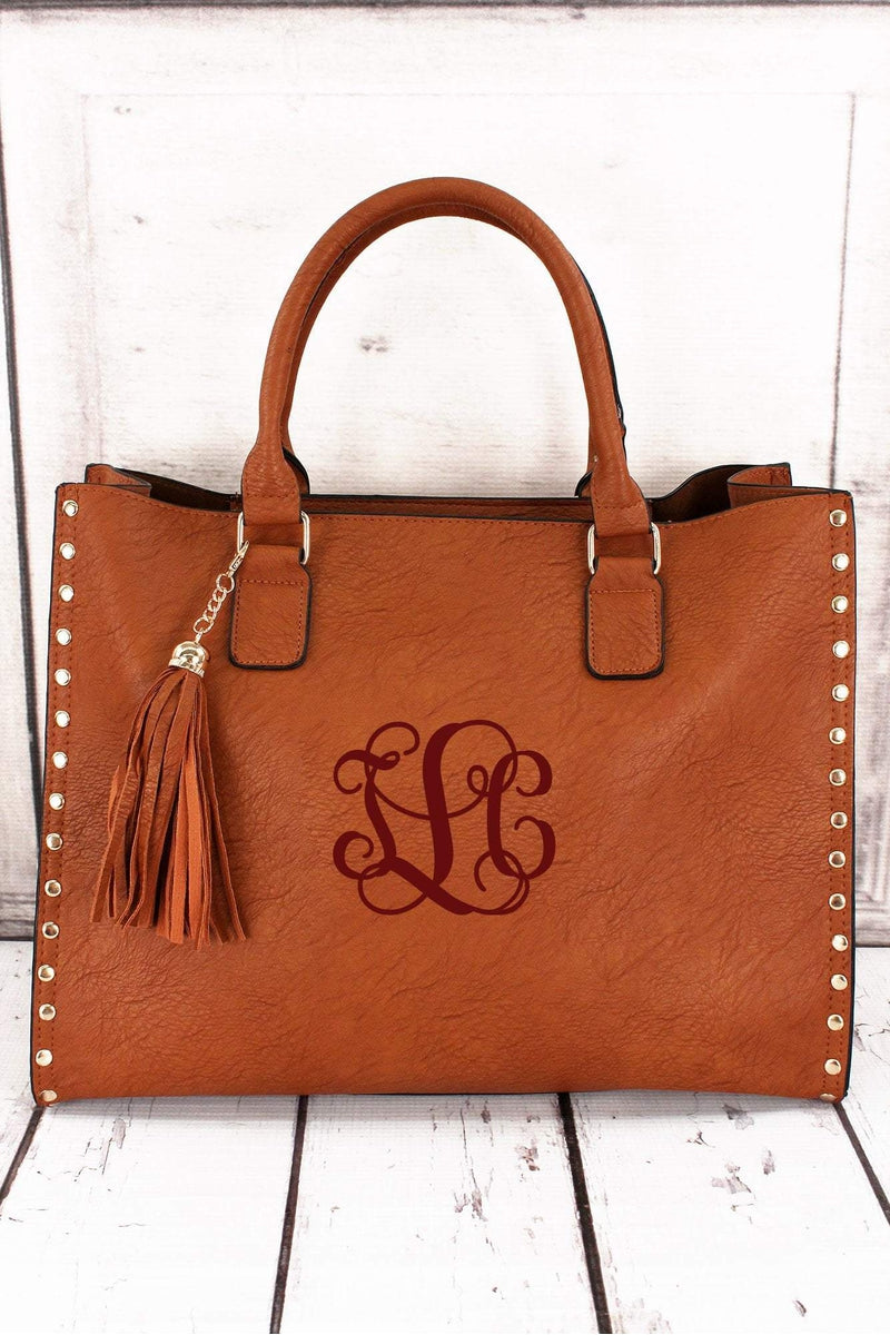 Light Brown Faux Leather Studded 2-in-1 Tassel Tote #P877-L/BROWN