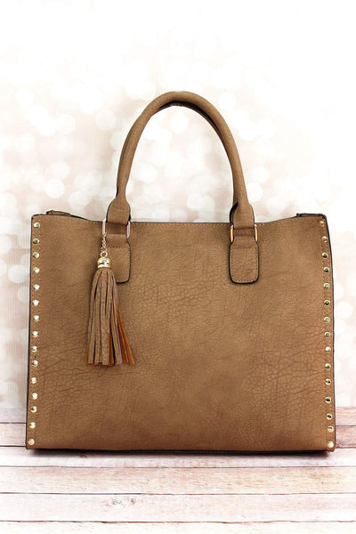 NGIL Taupe Gray Faux Leather Studded 2-in-1 Tassel Tote