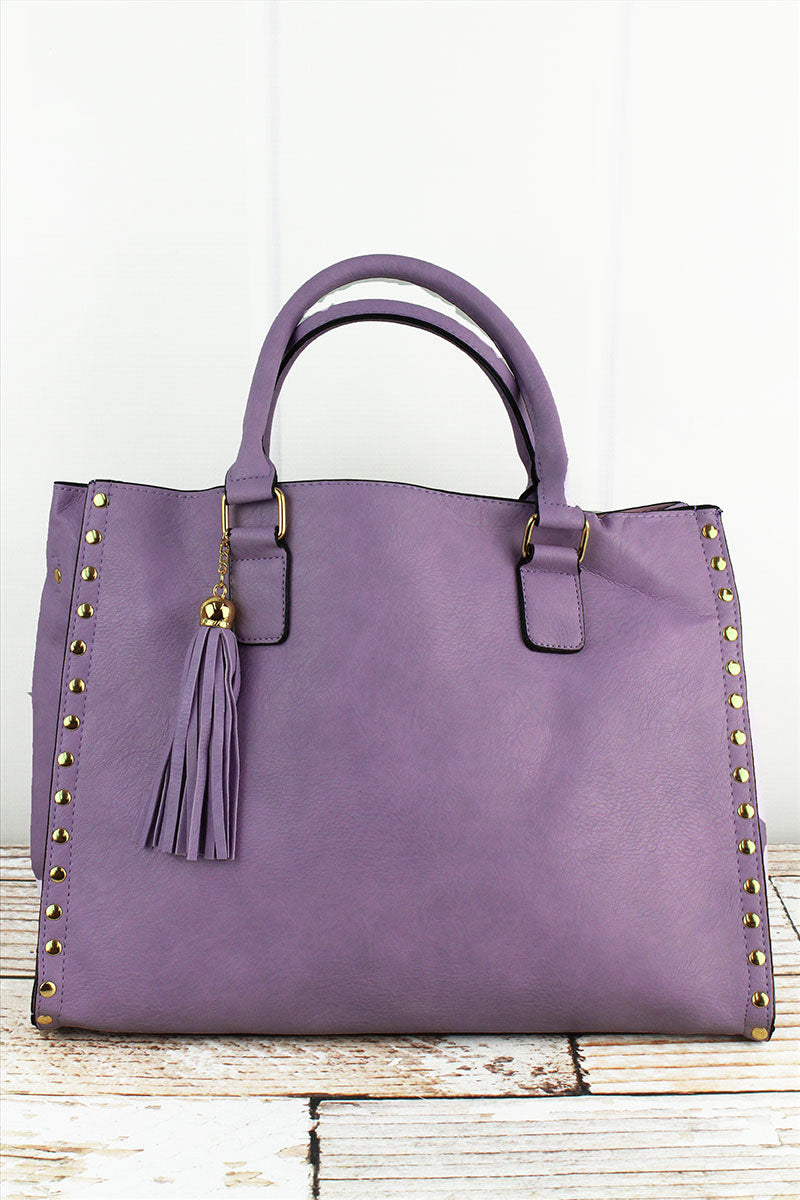 NGIL Violet Faux Leather Studded 2-in-1 Tassel Tote