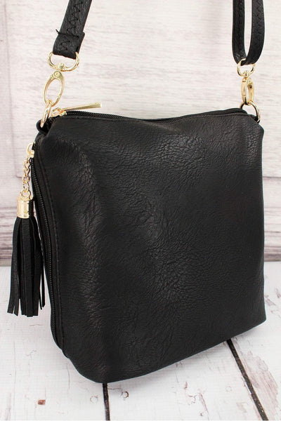 Black Faux Leather Double Tassel Zip Crossbody #P932-BLACK