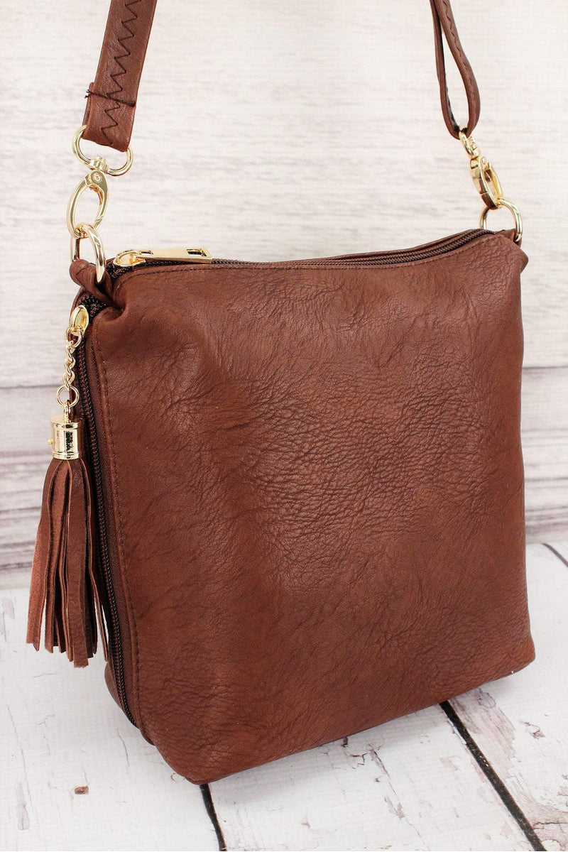Brown Faux Leather Double Tassel Zip Crossbody #P932-BROWN