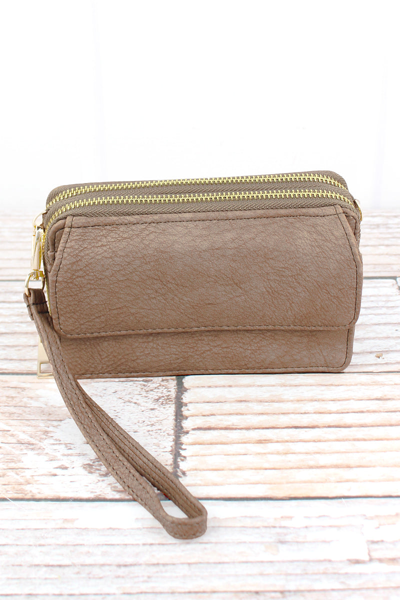 NGIL Taupe Gray Faux Leather Crossbody Organizer Clutch