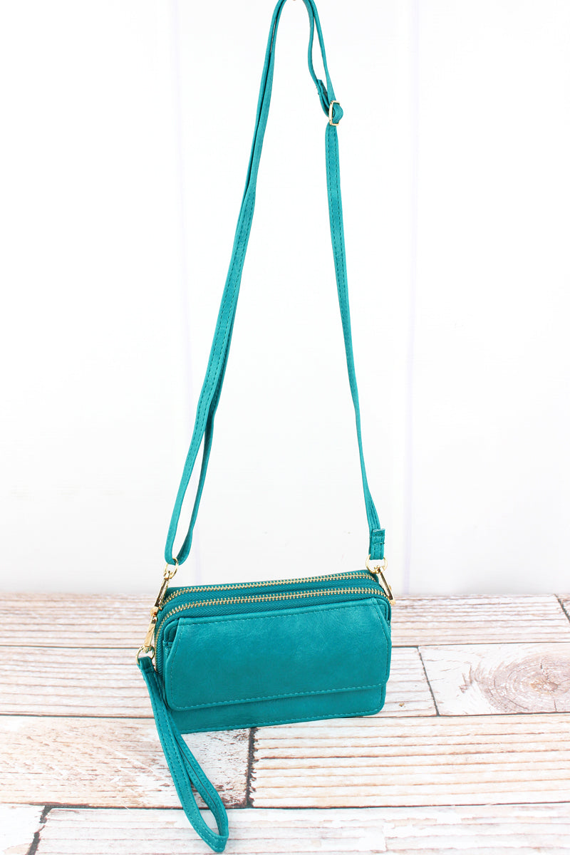 NGIL Turquoise Faux Leather Crossbody Organizer Clutch