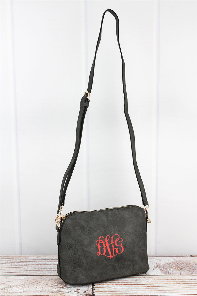 NGIL Gray Faux Leather Convertible Crossbody Bag