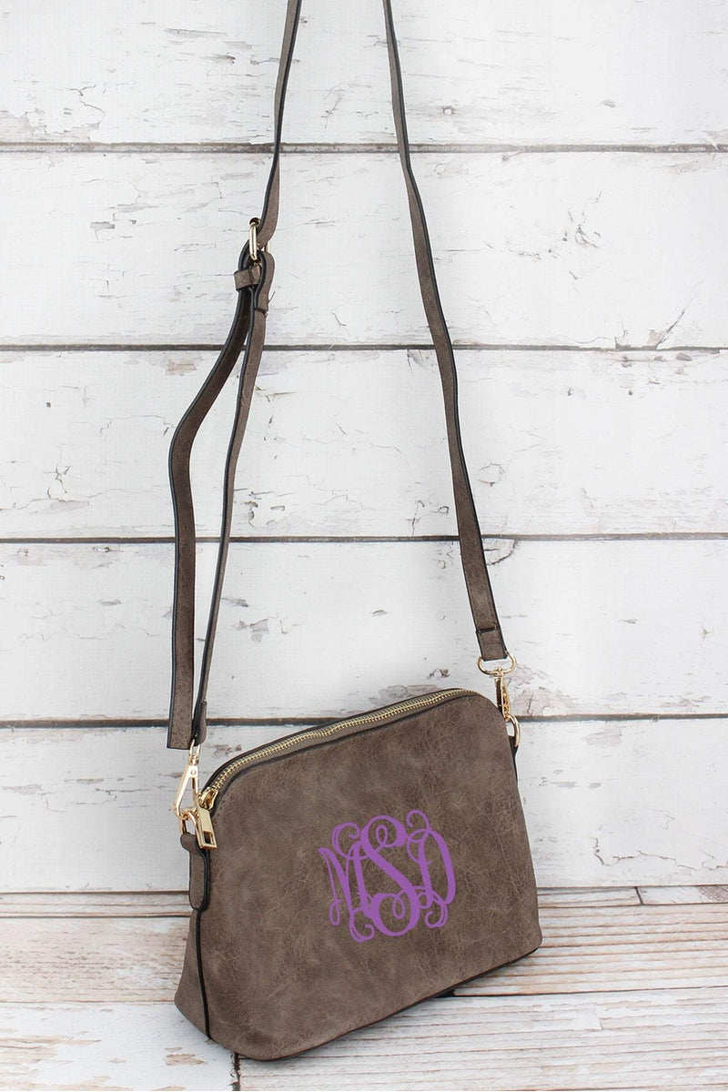 NGIL Taupe Gray Faux Leather Convertible Crossbody Bag