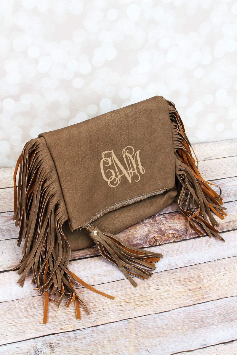 NGIL Taupe Gray Faux Leather Fringed Crossbody Clutch