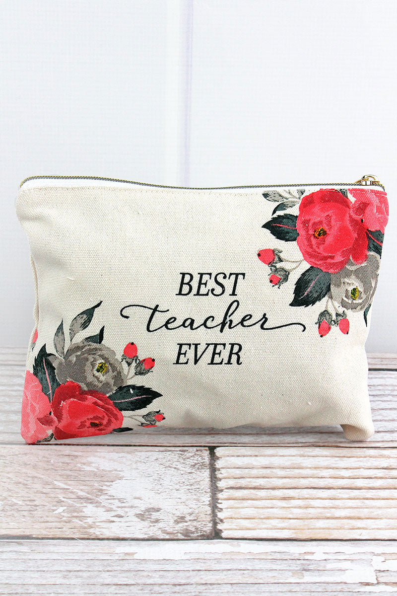 Best Teacher Ever Zippered Canvas Pouch