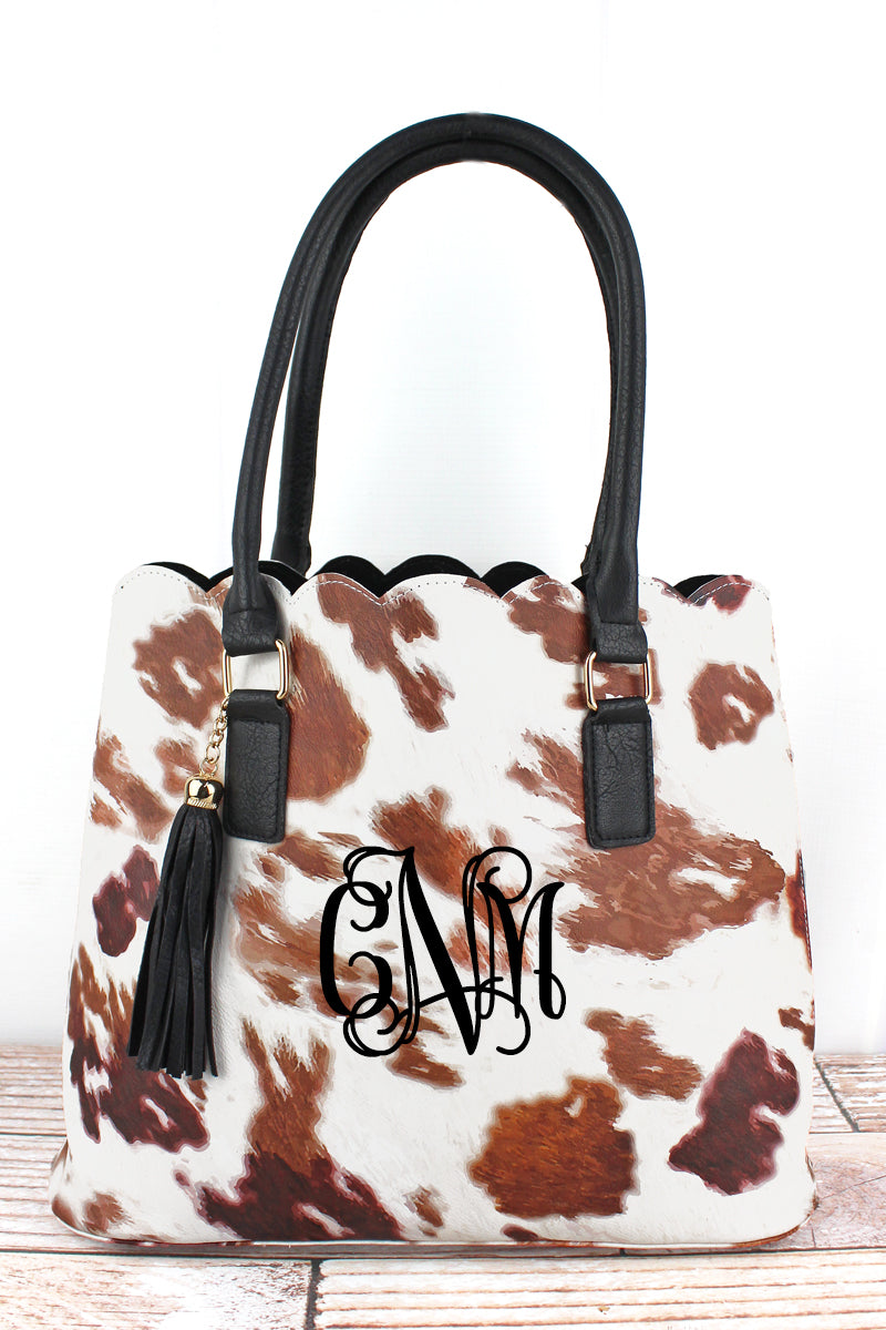 NGIL Till The Cows Come Home Faux Leather Scalloped Tote