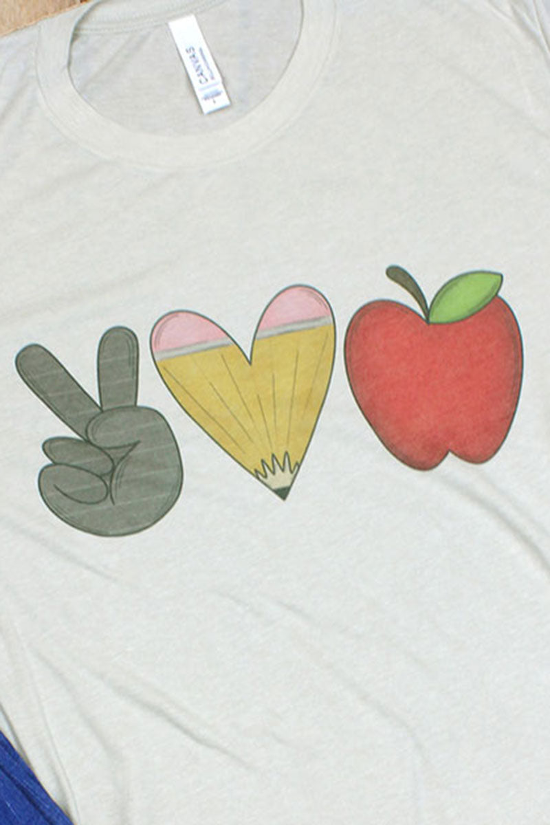 Peace Love Teacher Tri-Blend Short Sleeve Tee