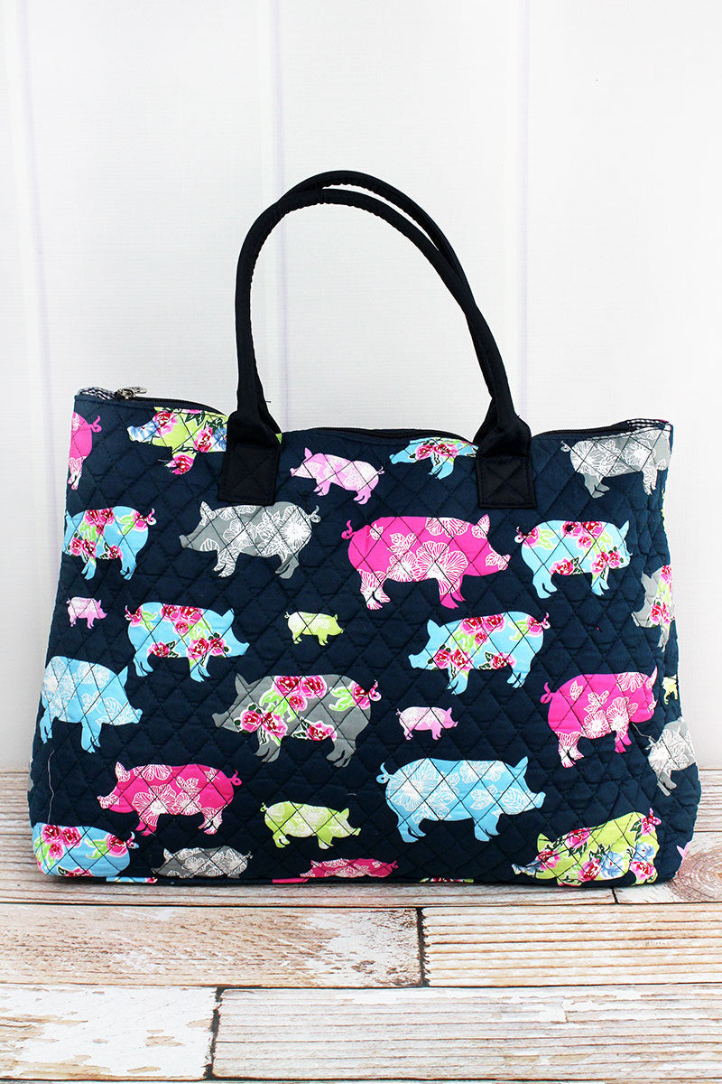 NGIL Posh Pigs Quilted Large Shoulder Tote