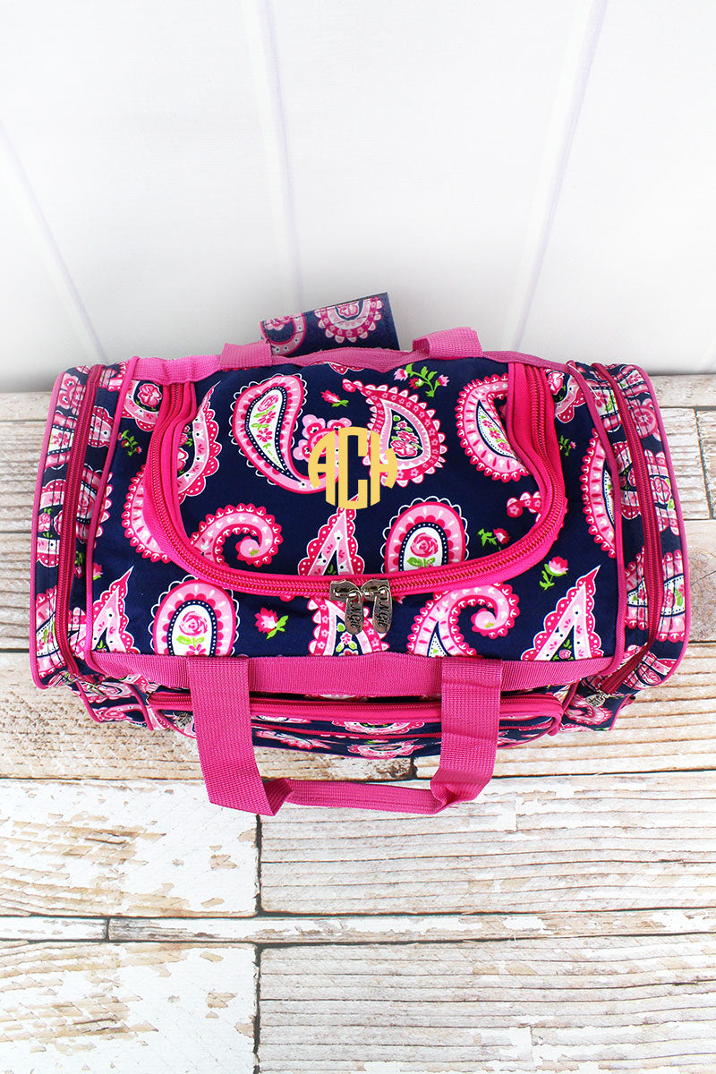 NGIL Paisley Passion Duffle Bag with Hot Pink Trim 17""