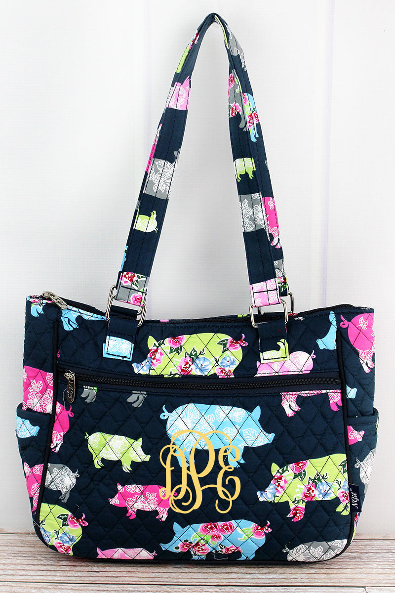 NGIL Posh Pigs Quilted Shoulder Tote