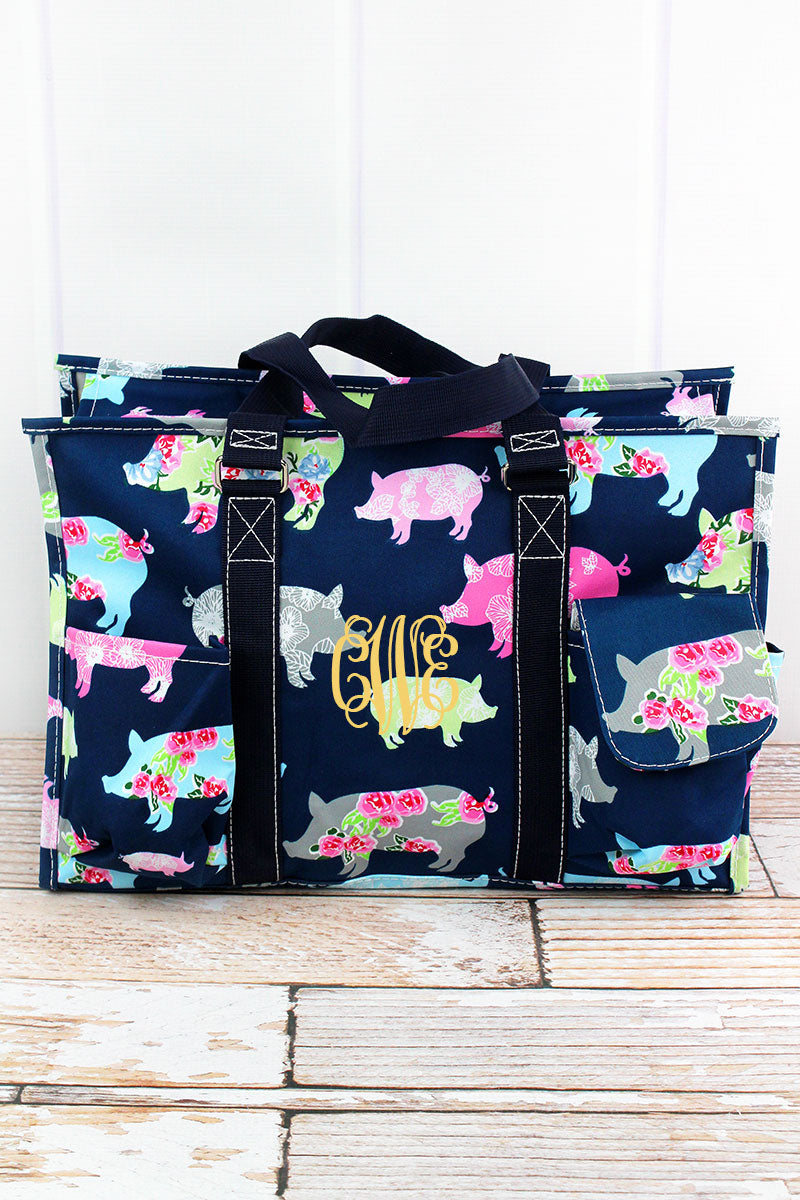 NGIL Posh Pigs Utility Tote with Navy Trim