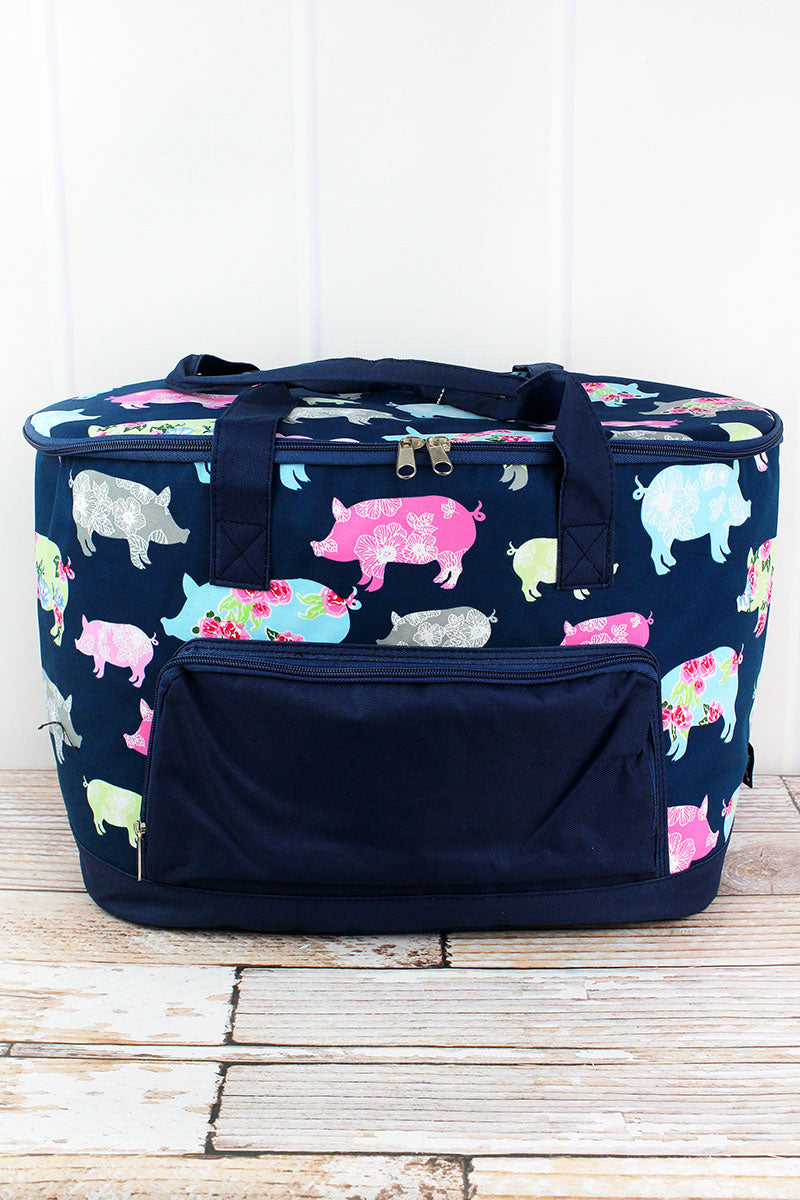 NGIL Posh Pigs and Navy Cooler Tote with Lid