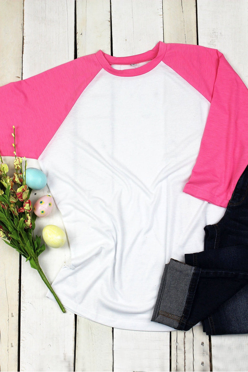 PRE-ORDER* Hot Pink and White 3/4 Sleeve Raglan Tee **EXPECTED SHIP DATE 3/10**