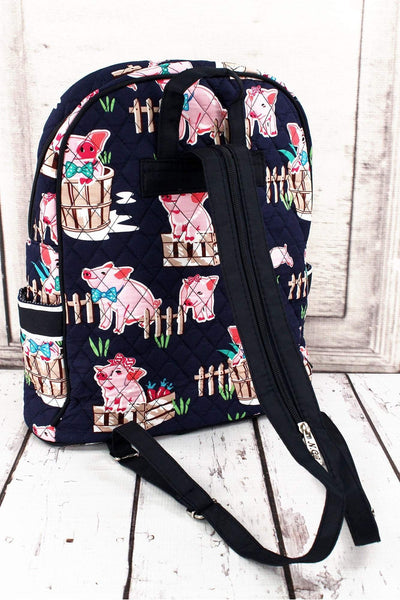 NGIL Playful Pigs Quilted Backpack with Navy Trim