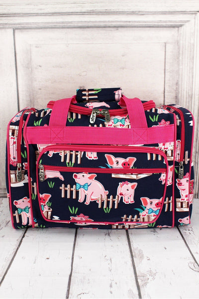 NGIL Playful Pigs Duffle Bag with Hot Pink Trim 17""