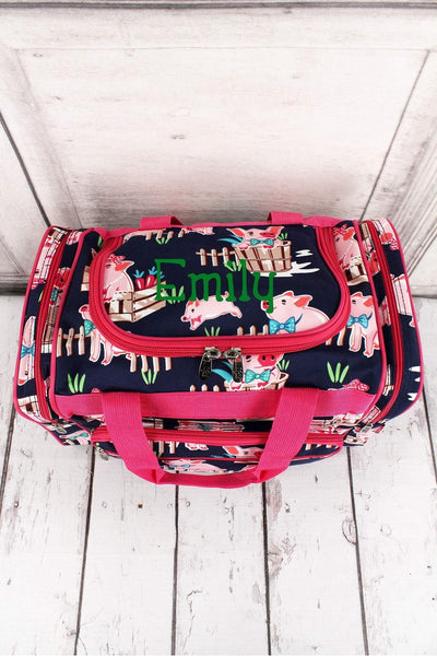 "Playful Pigs Duffle Bag with Hot Pink Trim 17"" #PIQ417-HPINK"
