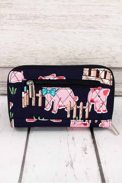 NGIL Playful Pigs with Navy Trim Quilted Organizer Clutch Wallet
