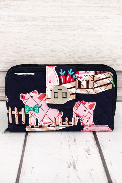 Playful Pigs with Navy Trim Quilted Organizer Clutch Wallet #PIQ517-NAVY