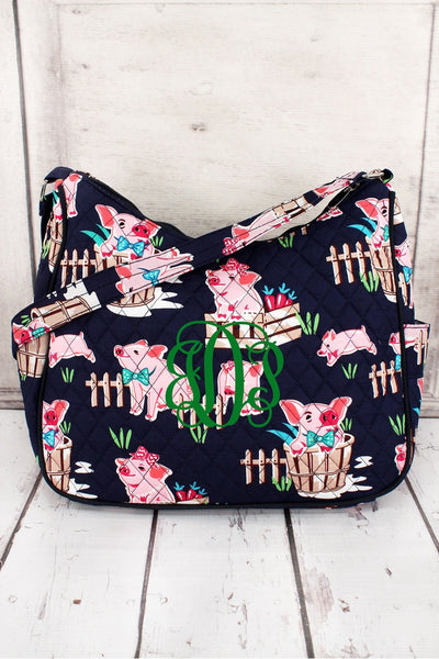 Playful Pigs with Navy Trim Quilted Shoulder Bag #PIQ595-NAVY