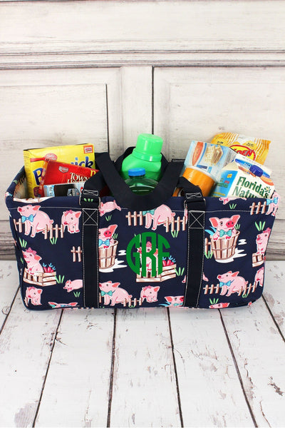 Playful Pigs with Navy Trim Collapsible Haul-It-All Basket with Mesh Pockets #PIQ603-NAVY