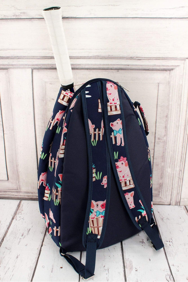 Playful Pigs Tennis Backpack #PIQ734-NAVY