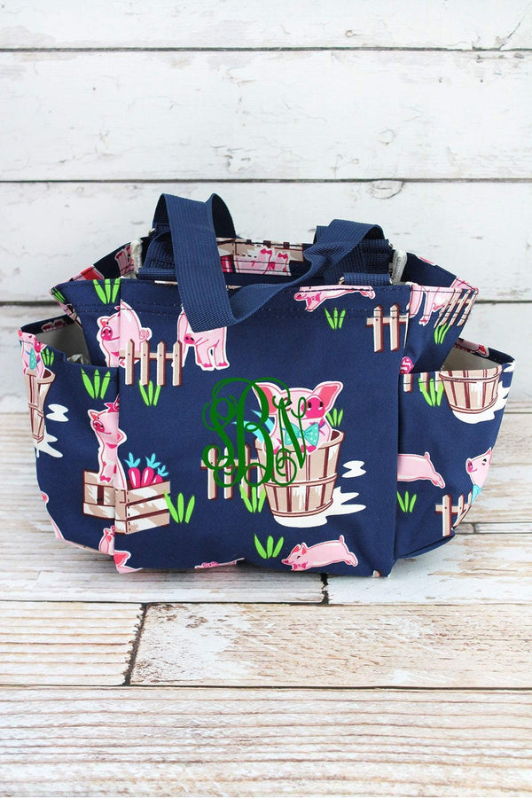 Playful Pigs Double Haul It All Market Basket in Navy or Pink Grocery Tote Picnic Basket Reusable Grocery Bag Toy Storage Bags
