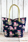 NGIL Playful Pigs Shoulder Tote