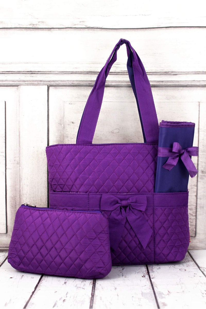 NGIL Purple Quilted Diaper Bag