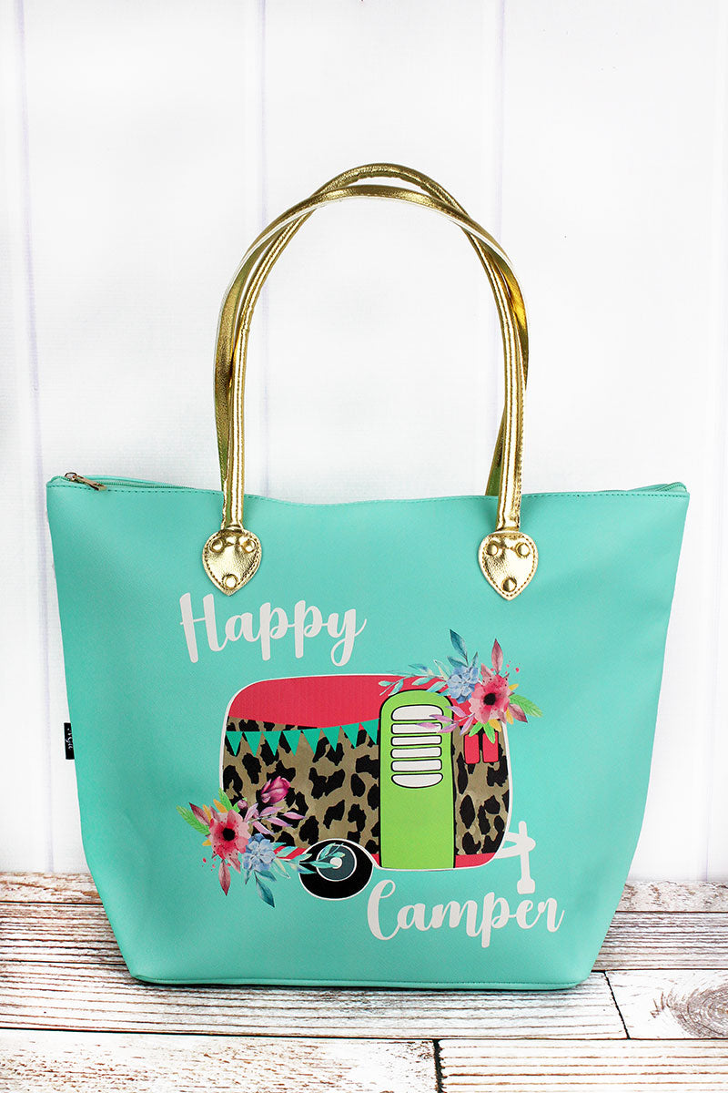 NGIL Leopard Happy Camper Mint Faux Leather Shoulder Tote