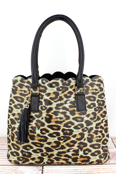 NGIL Leopard Faux Leather Scalloped Tote