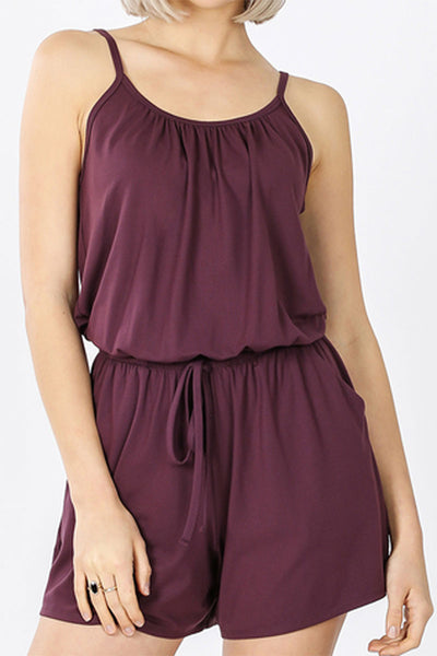 Eggplant Spaghetti Strap Brushed Romper with Pockets