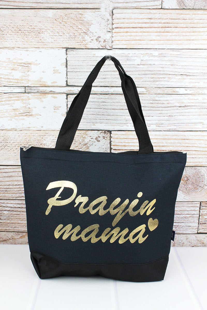Metallic Gold 'Praying Mama' Navy Tote Bag